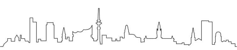Skyline von Hamburg in schwarz-weiß