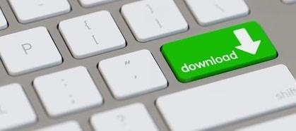 Symbol für Download auf Taste einer Tastatur vom Computer
