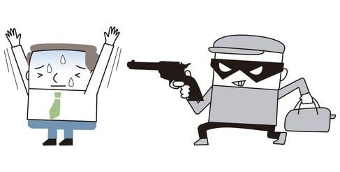 Räuber mit Pistole: Comic zum Raub.